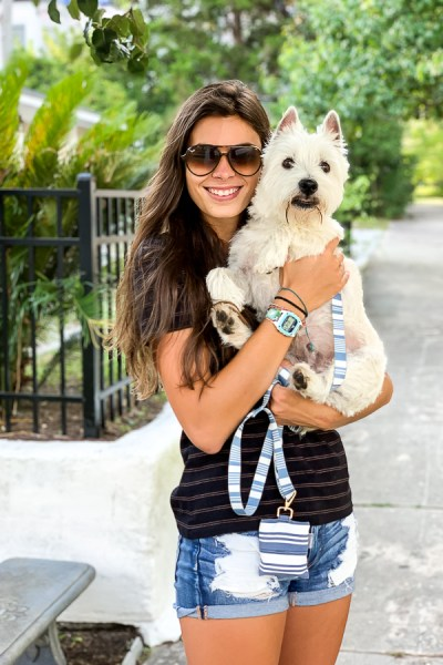 girl with a Westie dog