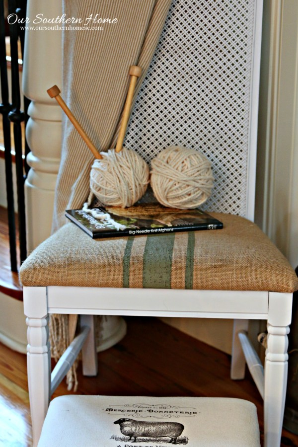 Thrift store chair makeover with spray paint and painted fabric chair cushion.