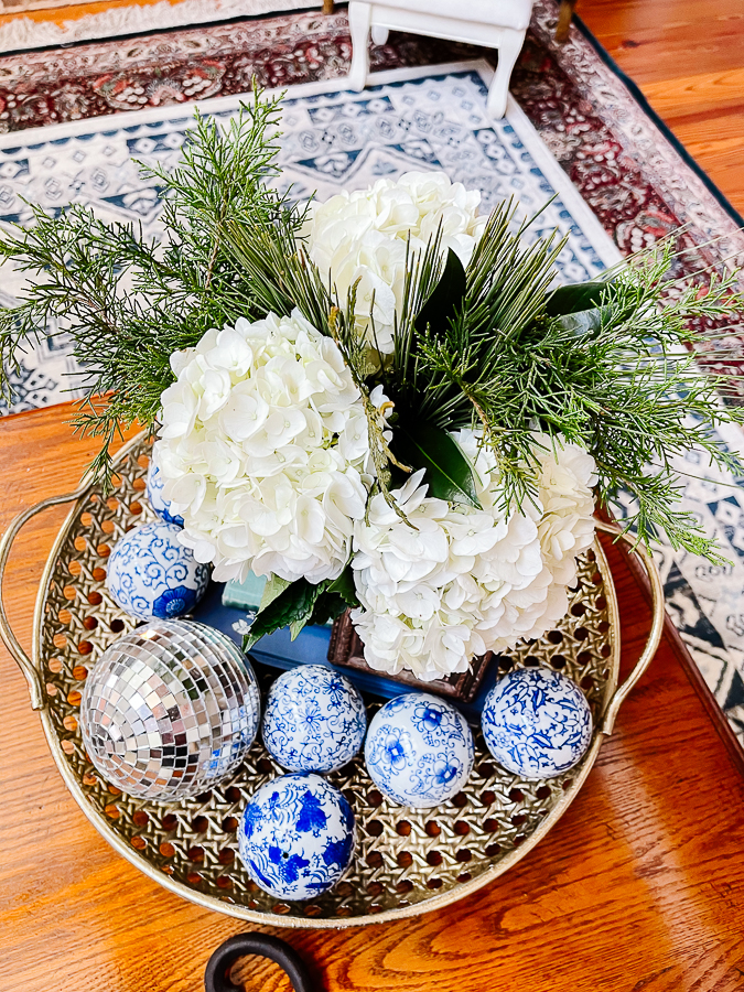 winter floral arranging with blue and white porcelain