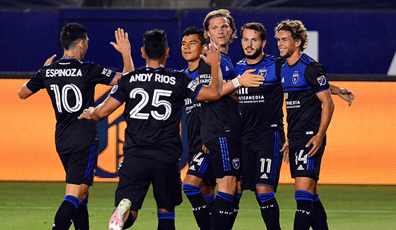 The San Jose Earthquakes celebrate the match's opening goal