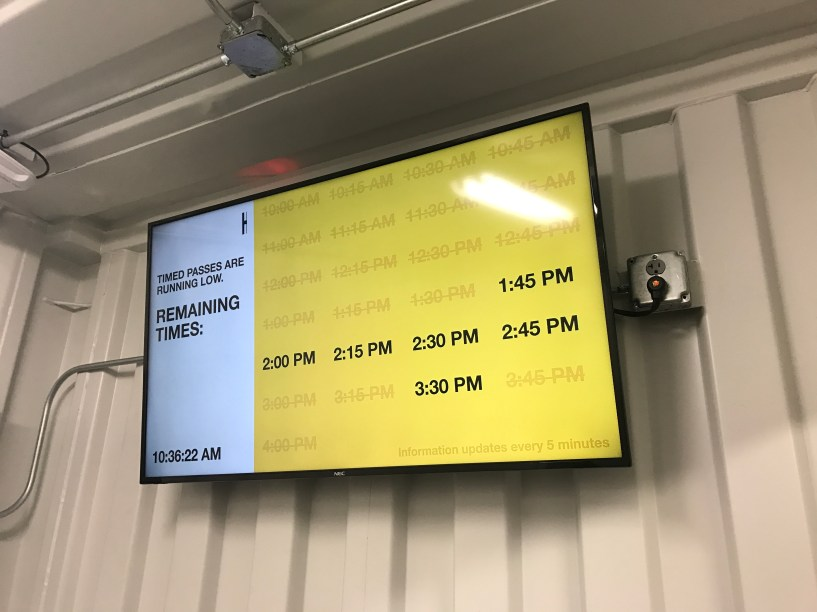 the TV with available time slots
