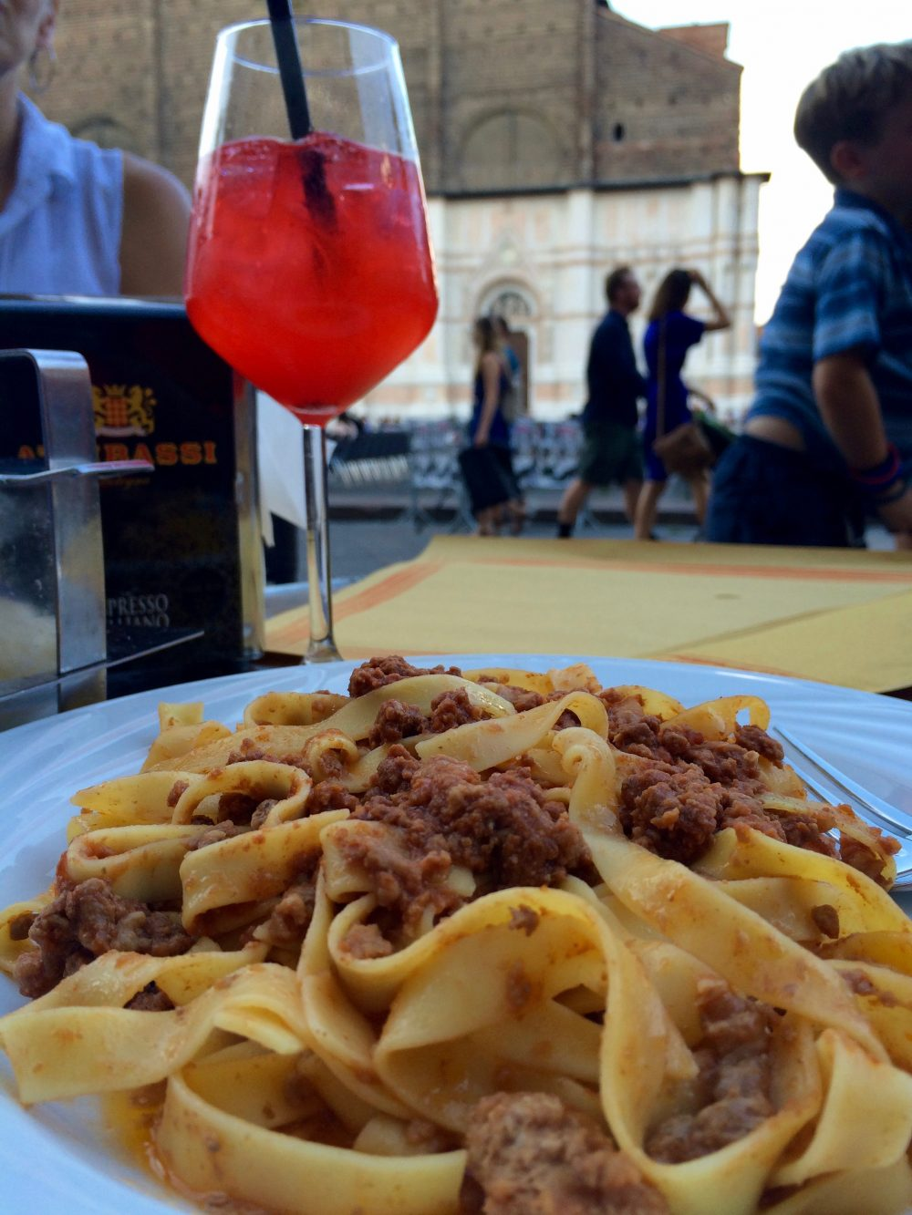 A delicious meal during a layover in Bologna