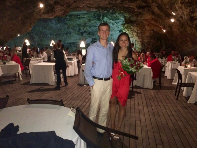 The most romantic dinner of our lives was at Grotta Palazzese just south of Bari, Italy.