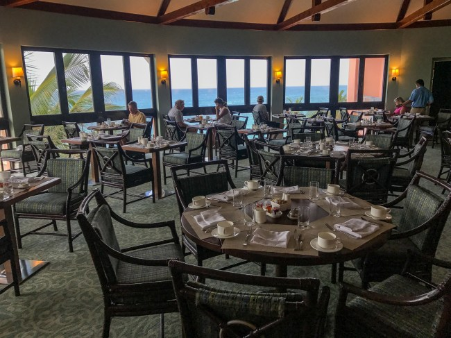 Aqua Terra's lovely dining room with panoramic views of the Atlantic Ocean