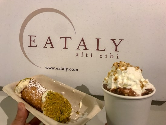 Eataly has all the Italian cuisine you need with their cannoli-bomboloni bar. To accompany your cannoli or bomboloni, order a luxurious Italian hot chocolate with your choice of toppings.