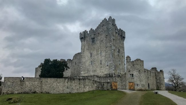 Ross Castle is a 15th-century tower house castle fortified by a defensive wall located within Killarney National Park on the edge of Lake Lough Leane.
