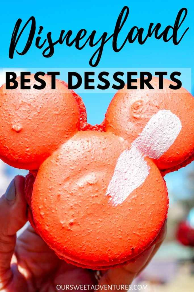 "A huge red macaron cookie in the shape of Mickey Mouse's head with text overlay ""Disneyland Best Desserts"""