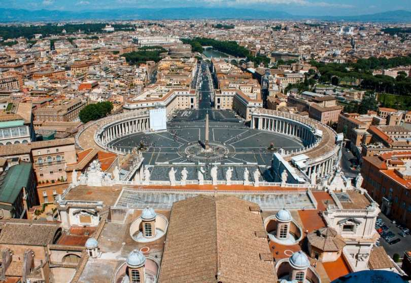 A stunning view of Vatican City and Rome from the top of St. Peter's Basilica dome.