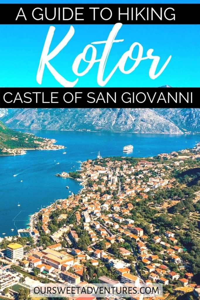 """Rows of redtop houses along the ocean in Kotor with text overlay """"A Guide to Hiking Kotor Castle of San Giovanni""""."""