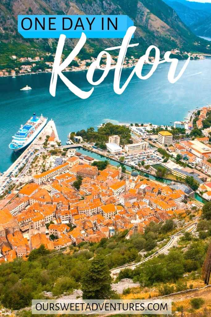 """Red roof top houses sitting close together making the shape of a triangle on the Bay of Kotor with a cruise ship docked at the port and a text overlay """"One Day in Kotor""""."""