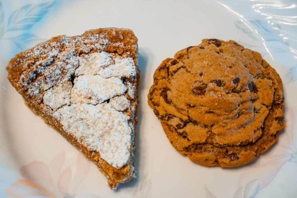 A slice of pie and a chocolate chip cookie from Sugarfire Smokehouse in St. Charles, MO.