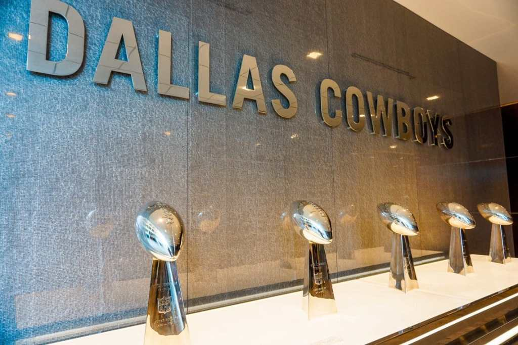A row of Super Bowl trophies won by the Dallas Cowboys located at The Star in Frisco.