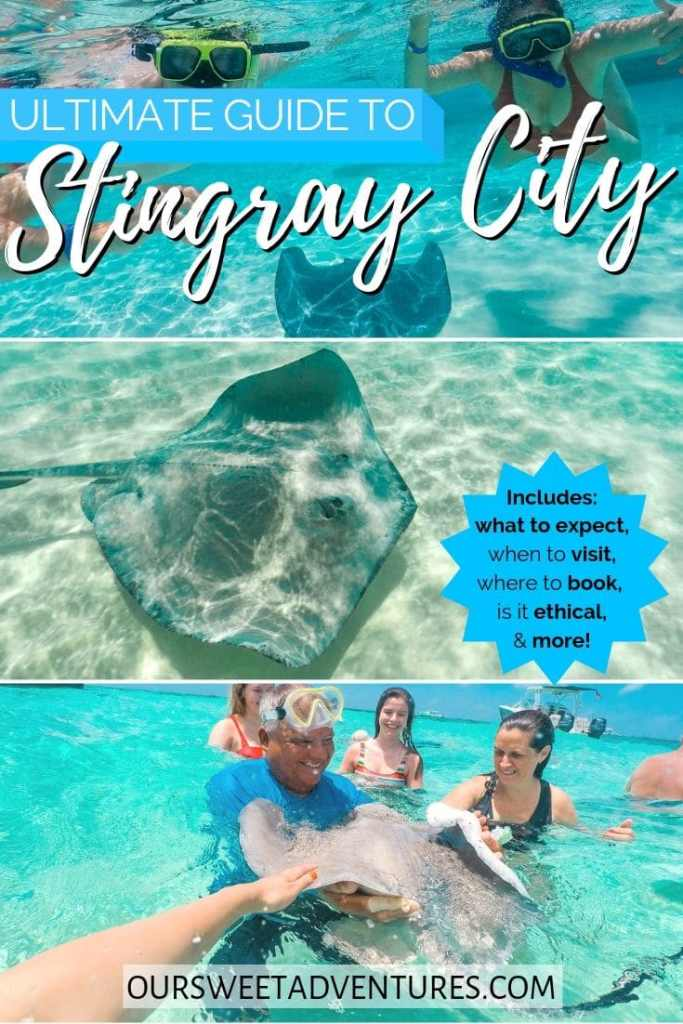 "Photo collage. Top photo is two people snorkeling over a stingray. Middle photo is a giant stingray. Bottom photo is a group of people surrounding a stingray. Text overlay""Ultimate guide to Stingray City - includes: what to expect, when to visit, where to book, is it ethical & more."""