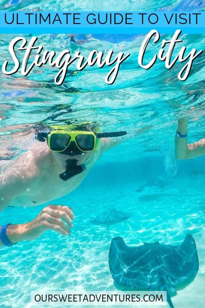 "A man snorkeling over stingrays with text overlay ""Ultimate Guide to visit Stingray City""."