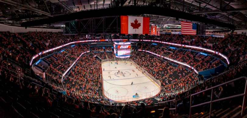 A panoramic view inside the Washington Capitals hockey arena filled with fans.