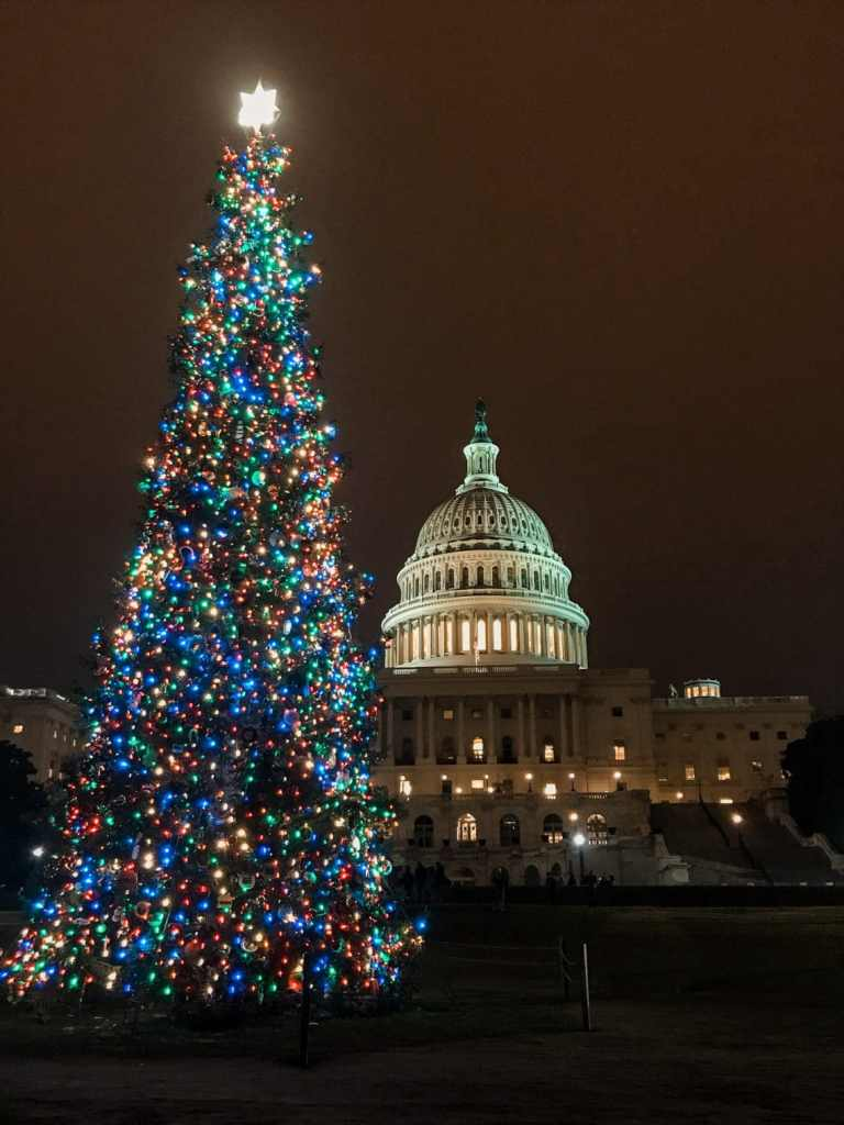 A tall, decorated Christmas tree with the U.S. Capitol building in the background.