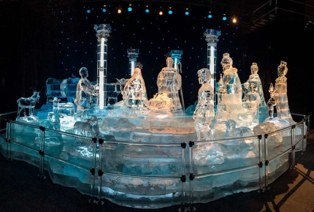A beautiful ice sculpture of the Nativity scene found at the Gaylords ICE! exhibit.