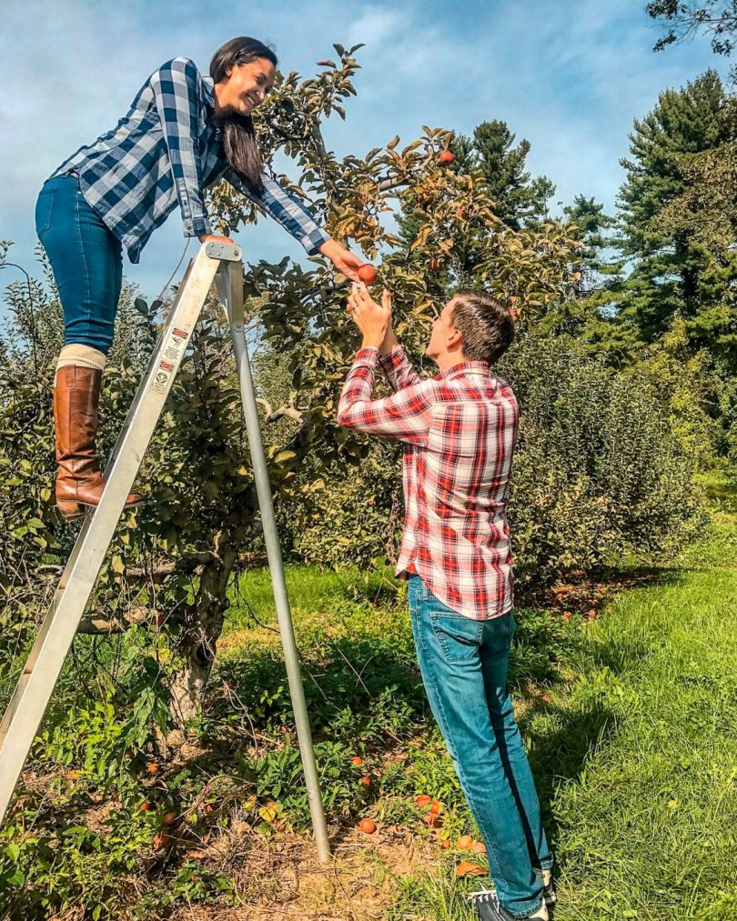 A woman standing on a ladder and picking an apple to hand to her husband.