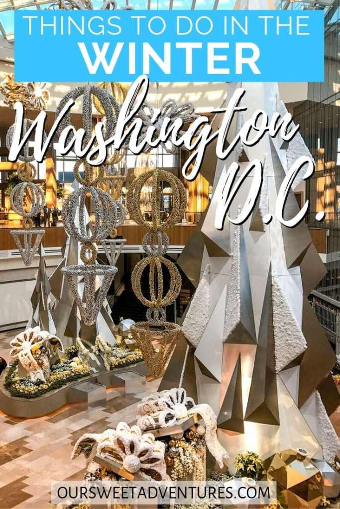 "A conservatory filled with silver and gold Christmas trees and ornaments with text overlay ""things to do in the winter Washington D.C."""