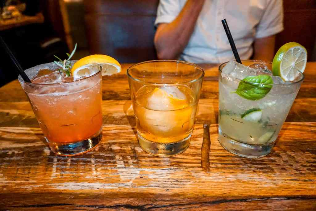 A flight of delicious hand-crafted cocktails from Sugarbacon in McKinney, Texas.