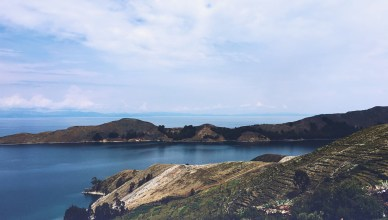 The view of Lake Titicaca from Isla del Sol