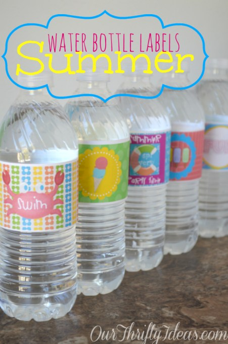 Summer Theme Water Bottle Labels from OurThriftyIdeas.com