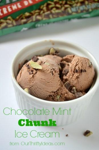 Chocolate Mint Chunk Ice Cream with Hamilton Beach and OurThriftyIdeas.com