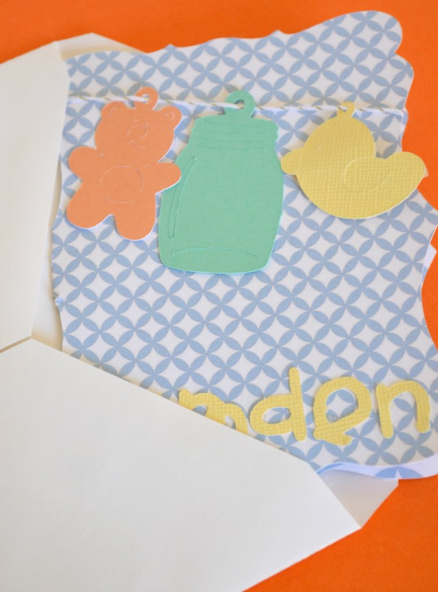 New Baby Card Make with a cricut cutter from @ourthriftyideas