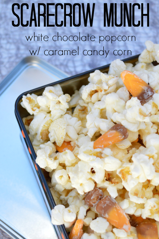 Scarcrow Munch - White chocolate popcorn with caramel candy corn. Gotta try this