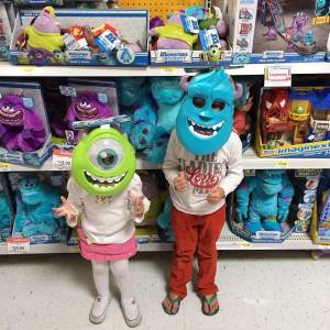Monsters University masks, Sully & Mike