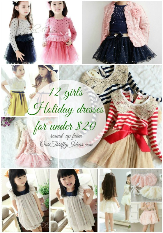 toddler and girls holiday dresses for under twenty dollars shipped right to your door   roundup from ourthriftyideas.com #holiday #dress #girls #toddler