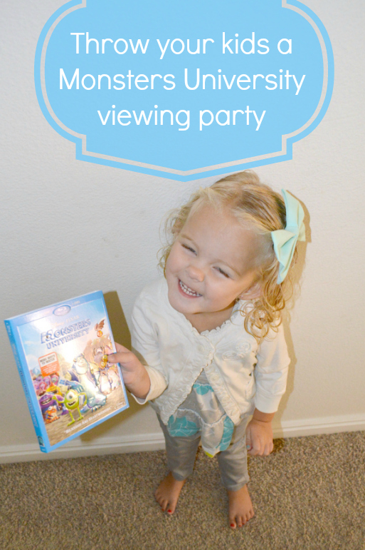 throw your kids a Monsters University viewing party