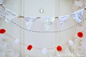 Holiday Pendent banner using gum wrappers, bakers twine and felt balls. Add to any wreath to dress it up | www.ourthriftyideas.com #GiveExtraGum #Cbias #Shop