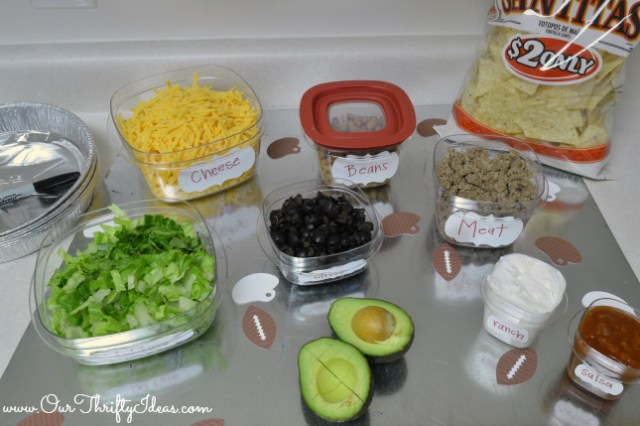 Homemade Nacho bar for your at home SuperBowl party using Rubbermaid containers and sharpies to make it easy   www.OurThriftyIdeas.com #RubbermaidSharpie #shop #PMedia #SuperBowl