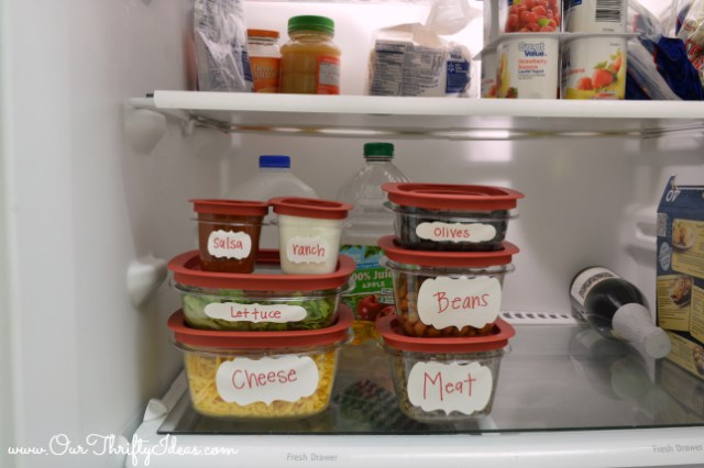 Homemade Nacho bar for your at home SuperBowl party using Rubbermaid containers and sharpies to make it easy | www.OurThriftyIdeas.com #RubbermaidSharpie #shop #PMedia #SuperBowl