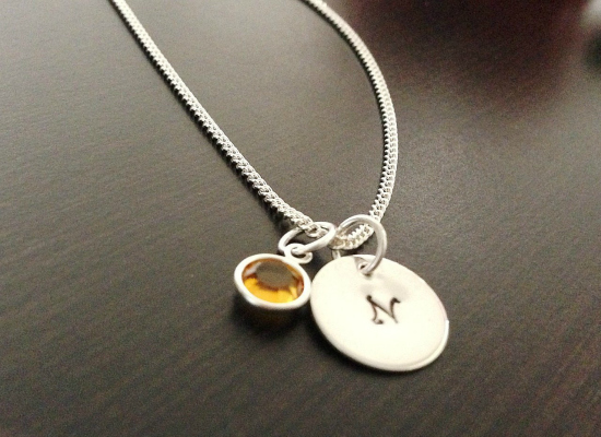 birthstone and initial necklace for mothers day