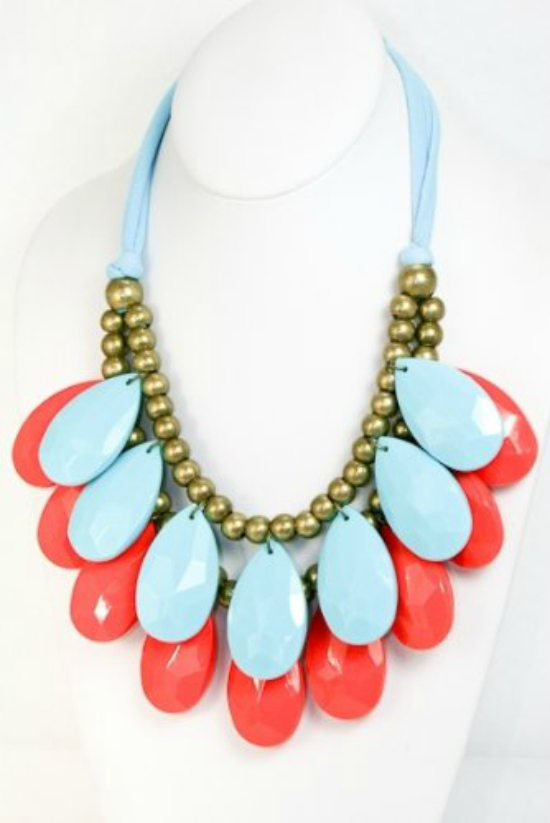 turquoise & coral bib necklace
