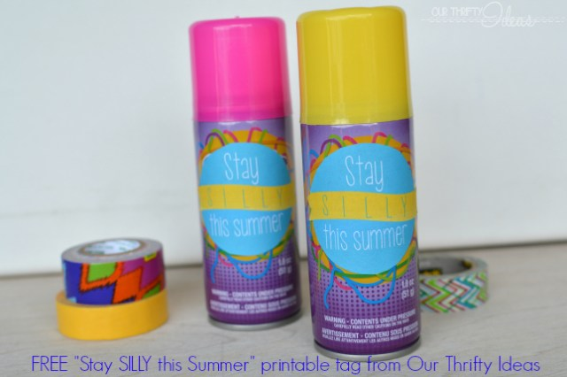Such a cute printable. Just print and attach to a one dollar bottle of silly string for a great end of the school year gift. Get the printable at OurThriftyIdeas.com
