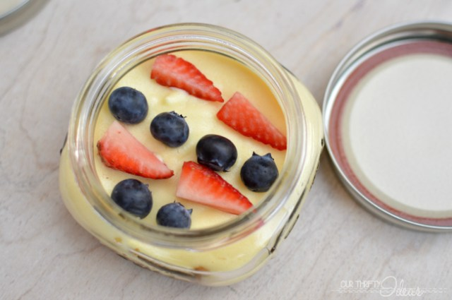 Patriotic cheesecakes in a jar. Perfect for taking on a picnic or sharing at a party. No need to cut and serve. And how fun is the fruit to tie in the color scheme?!