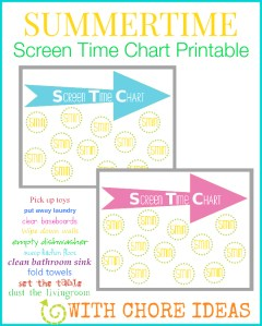 Printable Screen Time chart for kids, plus a printable list of chores they can do to earn their screen time. This is perfect for regulating TV & computer time this Summer
