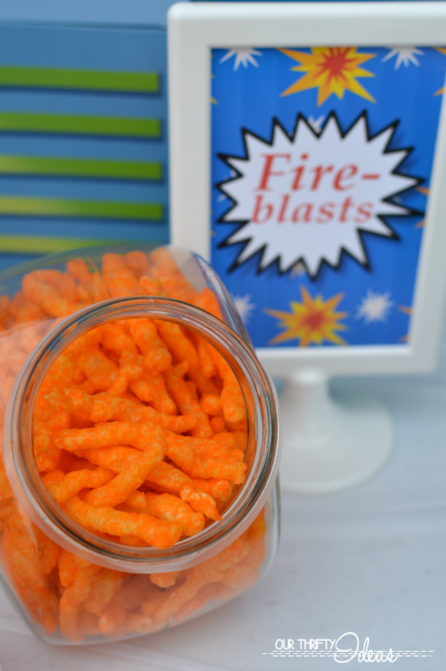 fire blast cheetos for a super hero party