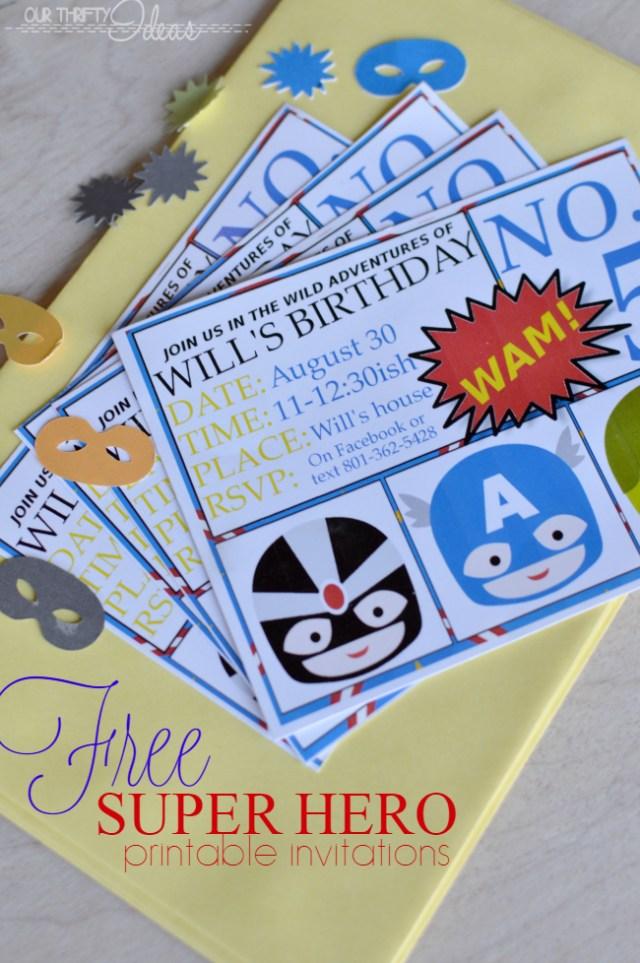 free printable super hero invitations