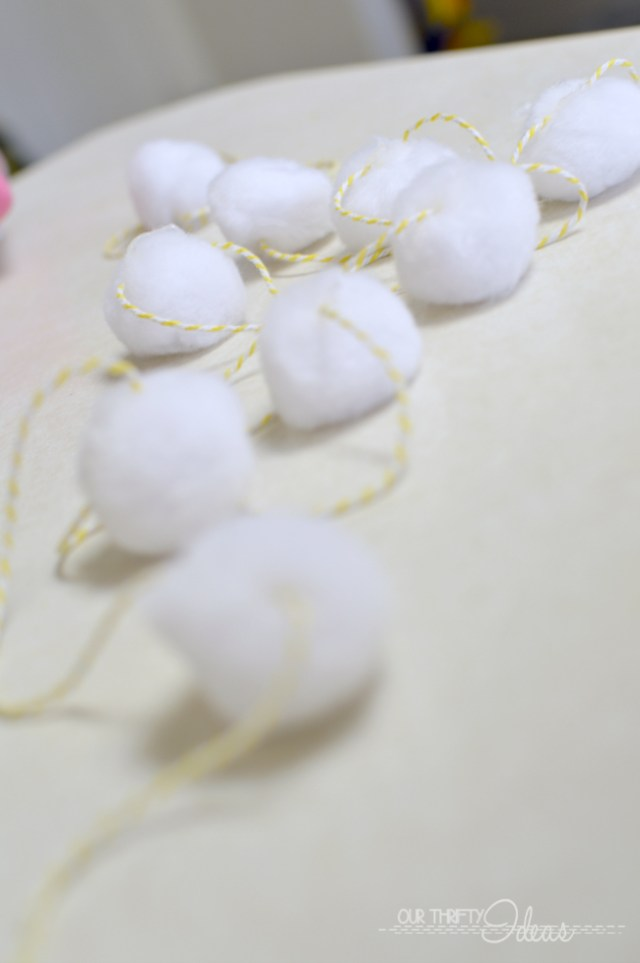 making a pom pom garland