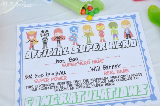 super hero certificate