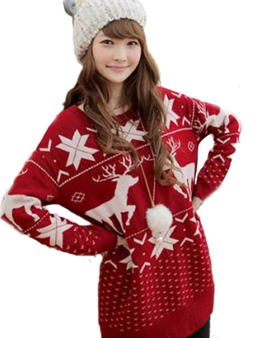 Red women's ugly sweater