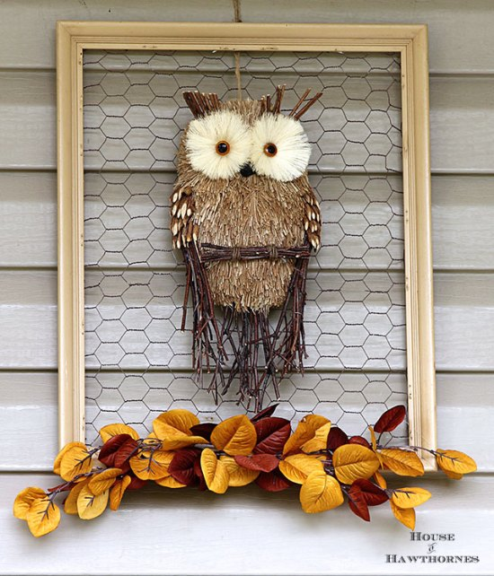 Framed owl wreath