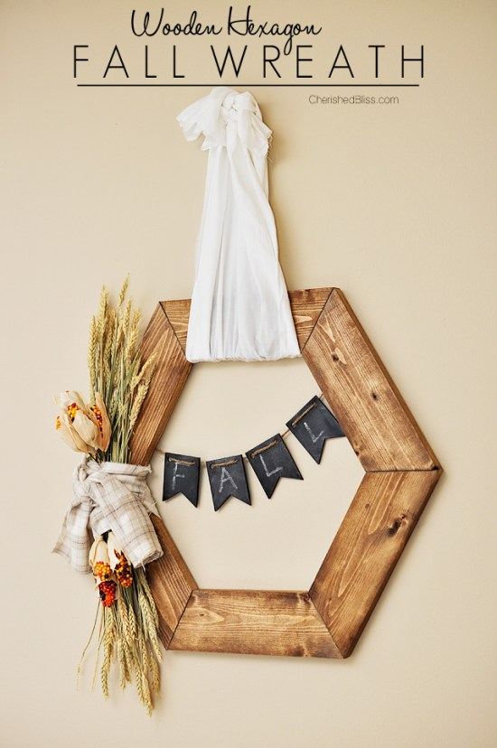 hexagon wooden wreath