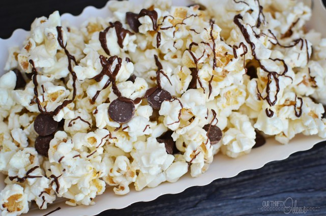 Moose Tracks Popcorn with Nestle's DelightFull' Morsels - Peanut Butter, Caramel and Chocolate mixed in with white chocolate popcorn