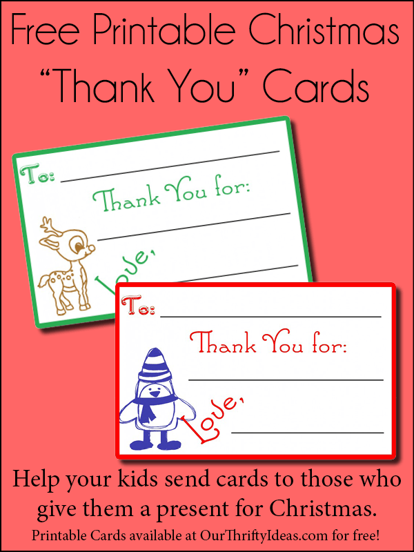 photo relating to Children's Thank You Cards Free Printable named Childrens Xmas Thank On your own Playing cards - Our Thrifty Recommendations