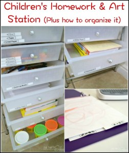 Creating a children's homework and art station - plus how to organize the art after they have created it.